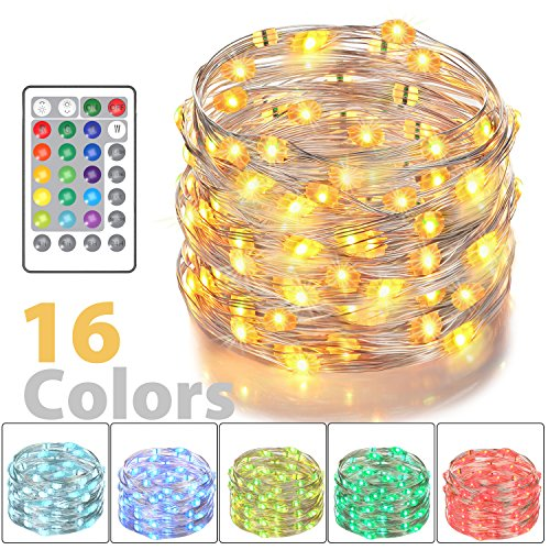Asmader LED Fairy Lights, Battery Powered Multi Color Changing String Lights With Remote Control Waterproof Decorative Silver Wire Lights 16ft 50LEDs for Bedroom,Patio,Indoor,Party,Garden, Party(RGB) by Asmader