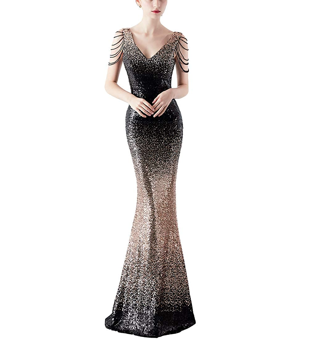 16180blackgold Chowsir Women Sexy Elegant Slim Sequin Cocktail Party Evening Long Dress