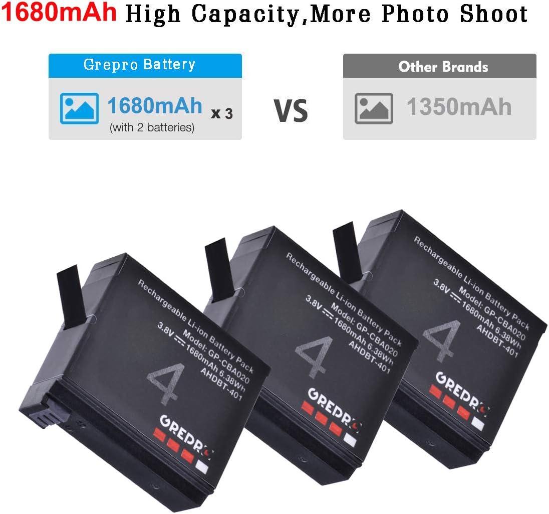 AHBBP-401 Grepro Cargador 3 Pack Bater/ía de Repuesto con Cargador Dual USB para GoPro HERO4 and GoPro AHDBT-401