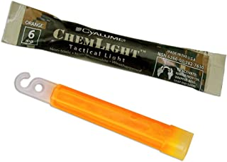 "product image for Cyalume - 9-76300 ChemLight Military Grade Chemical Light Sticks – 6 Hour Duration Light Sticks Provide Intense Light, Ideal as Emergency or Safety Lights, for Tactical Applications, Hiking or Camping and Much More, Standard Issue for U.S. Military Personnel – Orange, 4"" Long (Pack of 100)"