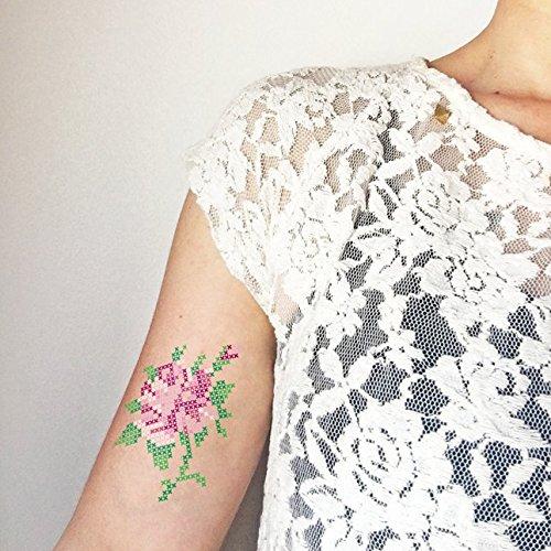 Punto de cruz rosa - Tatuaje temporal (conjunto de 2): Amazon.es ...