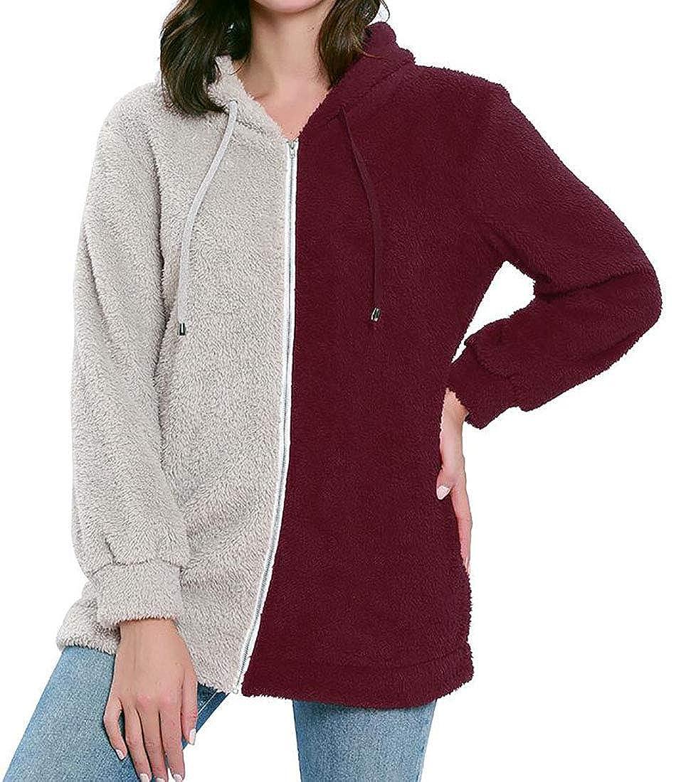 X-Future Womens Casual Contrast Color Zipper Hooded Fleece Sweatshirt Jacket