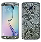 Decalrus - Samsung Galaxy S6 EDGE (Note: Edge version ONLY) Silver Python skin pattern Texture skin skins decal for case cover wrap PYgalaxyS6EdgeBlack