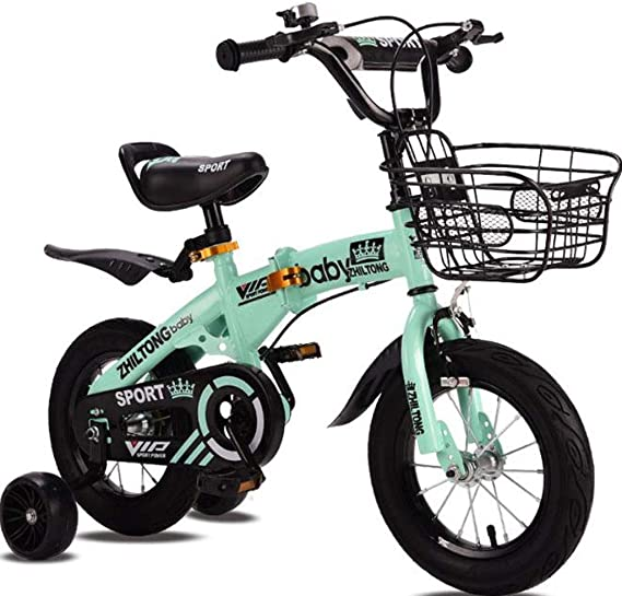 """K-G Bicicleta Infantil Los niños Plegable Formación Bicicleta de Acero Niños Bici del niño con la Rueda Auxiliar de 2-9 años de Edad en tamaño 12"""" 14"""" 16"""" 18"""" (Color : Green,"""