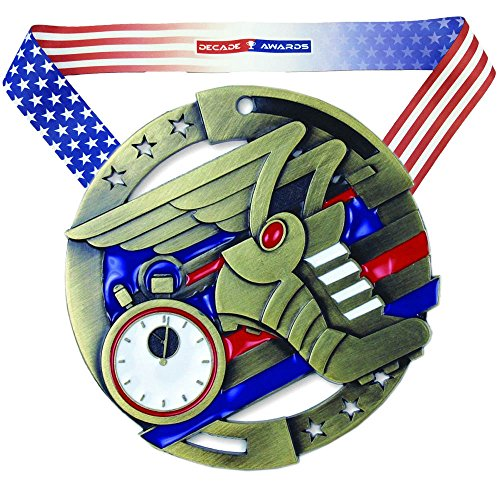 Decade Awards Track & Field M3XL Premium Die Cast Color Medal - Gold | Cross Country Award | Includes Stars and Stripes American Flag Neck Ribbon | 2.75 Inch Wide