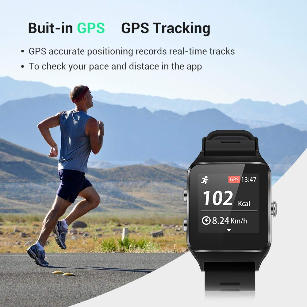 Enow Smart Watch, GPS IP68 Waterproof Touch Screen Fitness Bluetooth Tracker with 24h Heart Rate Monitor, Sleep Tracker, 17 Sports Mode, Pedometer Step Calories Counter for Women Men, Android/ iOS