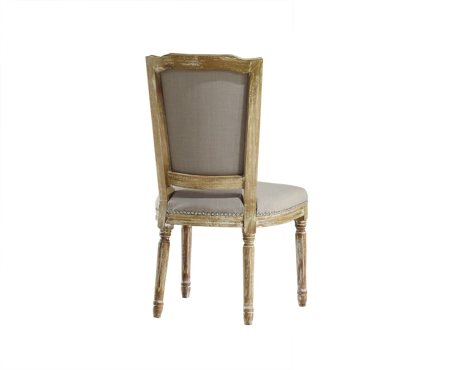 Baxton Studio Estelle Shabby Chic Rustic French Country Cottage Weathered Oak Linen Button Tufted Upholstered Dining Chair, Medium, Beige - Gorgeous French Provincial Style Aesthetic Improves with Age Stunning Solid Oak with White Wash Effect - kitchen-dining-room-furniture, kitchen-dining-room, kitchen-dining-room-chairs - 61fssNGNRiL -