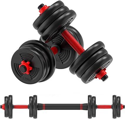Adjustable Weight to 44Lbs Gym Work Out Exercise Training with Connecting Rod Used as Barbells Home Fitness Equipment for Men and Women VLVEE Dumbbells Set Fitness Exercise