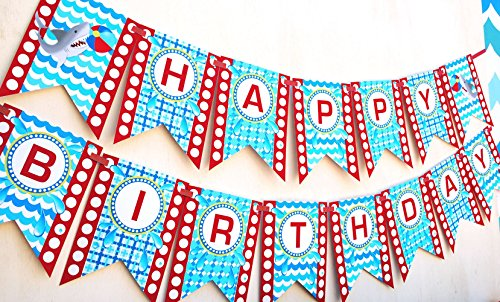 Shark Party Happy Birthday Banner Pool Party -