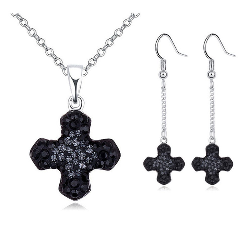 Btime Cross Necklace Earrings Jewelry Sets Crystals from Swarovski