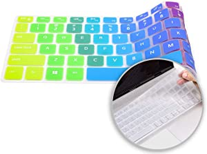 """2 Pack Colorful Dell Inspiron 5584 Keyboard Cover, Silicone Keyboard Skin for 2020 2019 15.6"""" Dell Inspiron 15 7000 7590 7591 Laptop, Dell Vostro 15 7590 Laptop Protector(Rainbow+Clear)"""