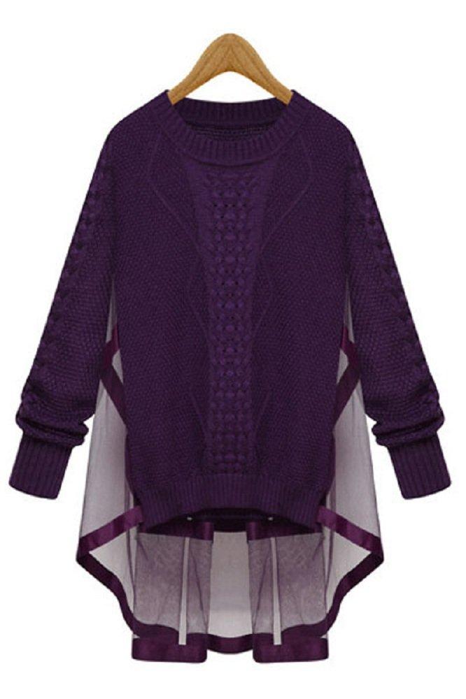 Nuevo señoras morado Cable Knit Jumper con malla Cabo Back Parte Superior Jersey Casual Wear tamaño M UK 10–12EU 38–40