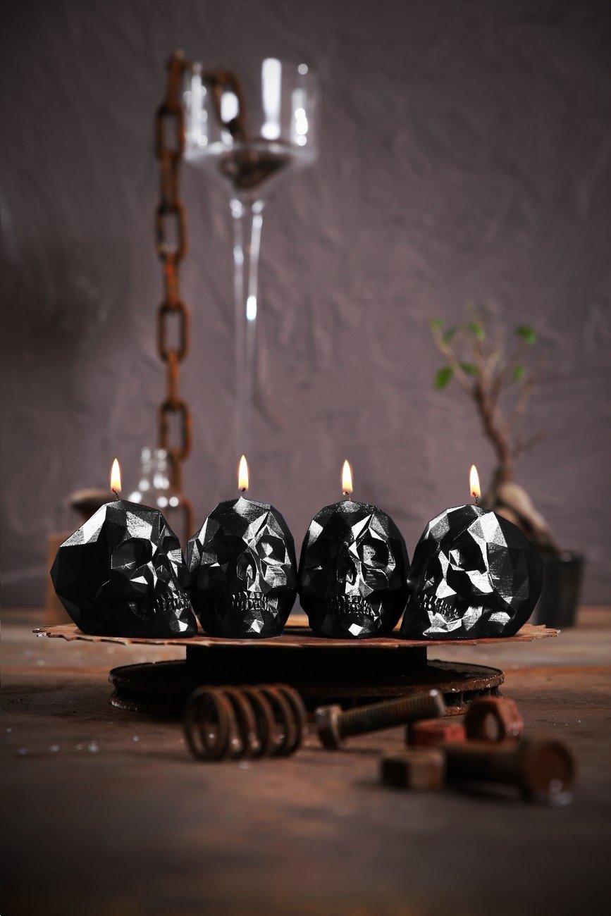 Black Metal Candellana Candles 5902841367906 4 Piece Skull Small