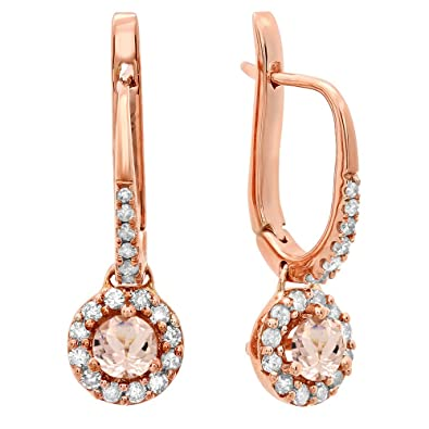 14K Rose Gold 3 MM Each Round Gemstone & White Diamond Ladies Halo Dangling Drop Earrings