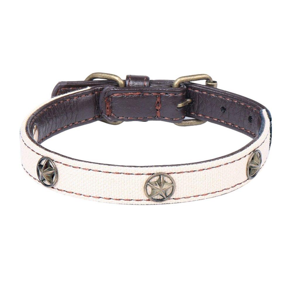 Yuncai Colore della Caramella Morbido Confortevole Durevole Cani Collare di Taglia Piccolo/Media Beige Bianco