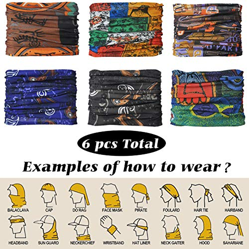 OMYSTYLE FASHION 6 PCS Headwear Multifunctional Men&Women Outdoor Sport Scarf Headband Mask Headwraps Neck Gaiter,Artist Patterns