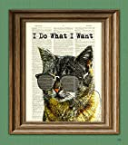 I Do What I Want cat illustration beautifully upcycled dictionary page book art print