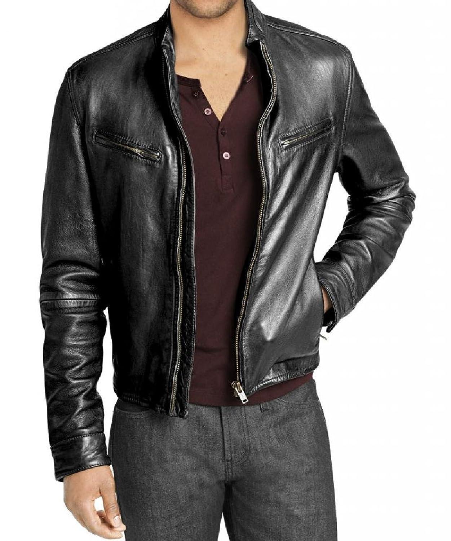 Men Leather Jacket Biker Motorcycle Coat Slim Fit Outwear Jackets AUK086