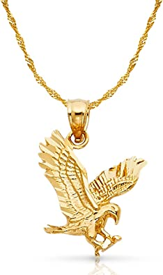 14K Yellow Gold Eagle Charm Pendant with 1.8mm Singapore Chain Necklace