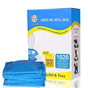 Diaper Pail Refill Bags Fully Compatible with Arm and Hammer Disposal System, 34 Bags 1020 Counts