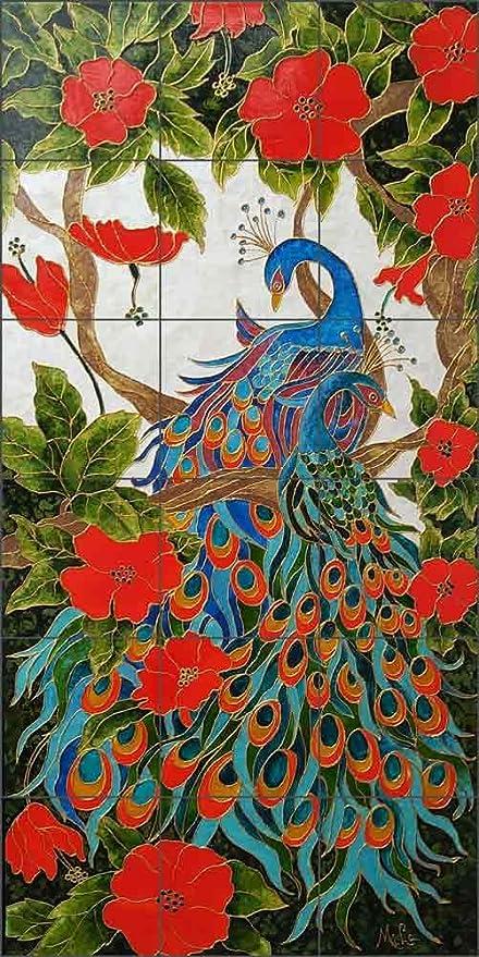 Bird Art Tile Mural Backsplash - Peacock Lovers by Micheline