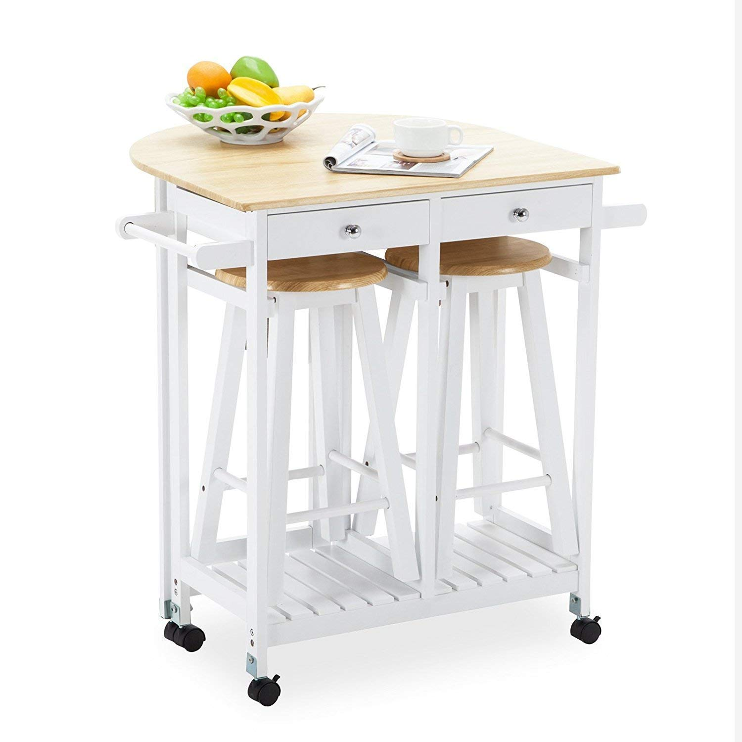 Mecor Drop Leaf Cart, 3PCS Wood Kitchen Rolling Casters with 2 Stools and 2 Drawers White