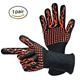 MUEQU 1 Pair BBQ Resistant Gloves, Kitchen Cooking Glove Lined Aramid Fiber Mitts,Light-Weight & Flexible Heat & Flame Resistant 932°F Extreme Heat Resistant oven gloves For Grilling, Baking (Red)
