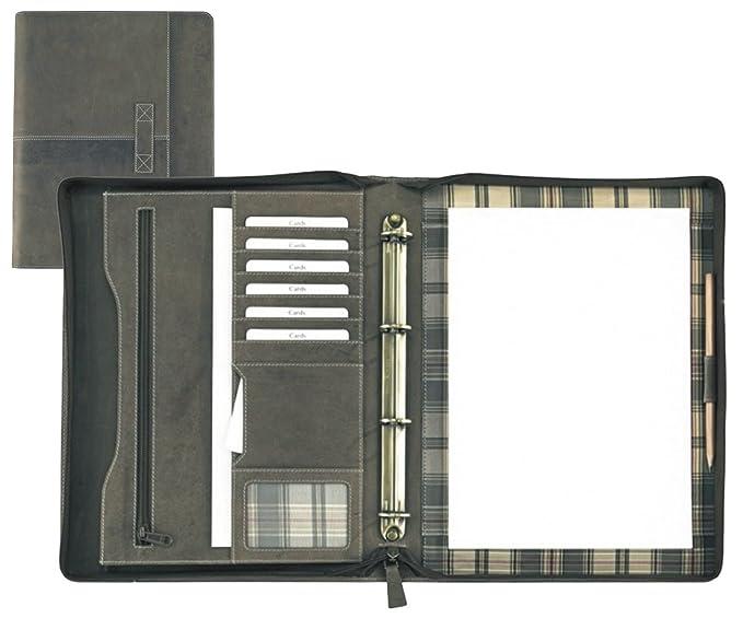 Ringbuchmappe A4 Leder braun mit Rei/ßverschluss von FIHA-Promotion Vintage excl
