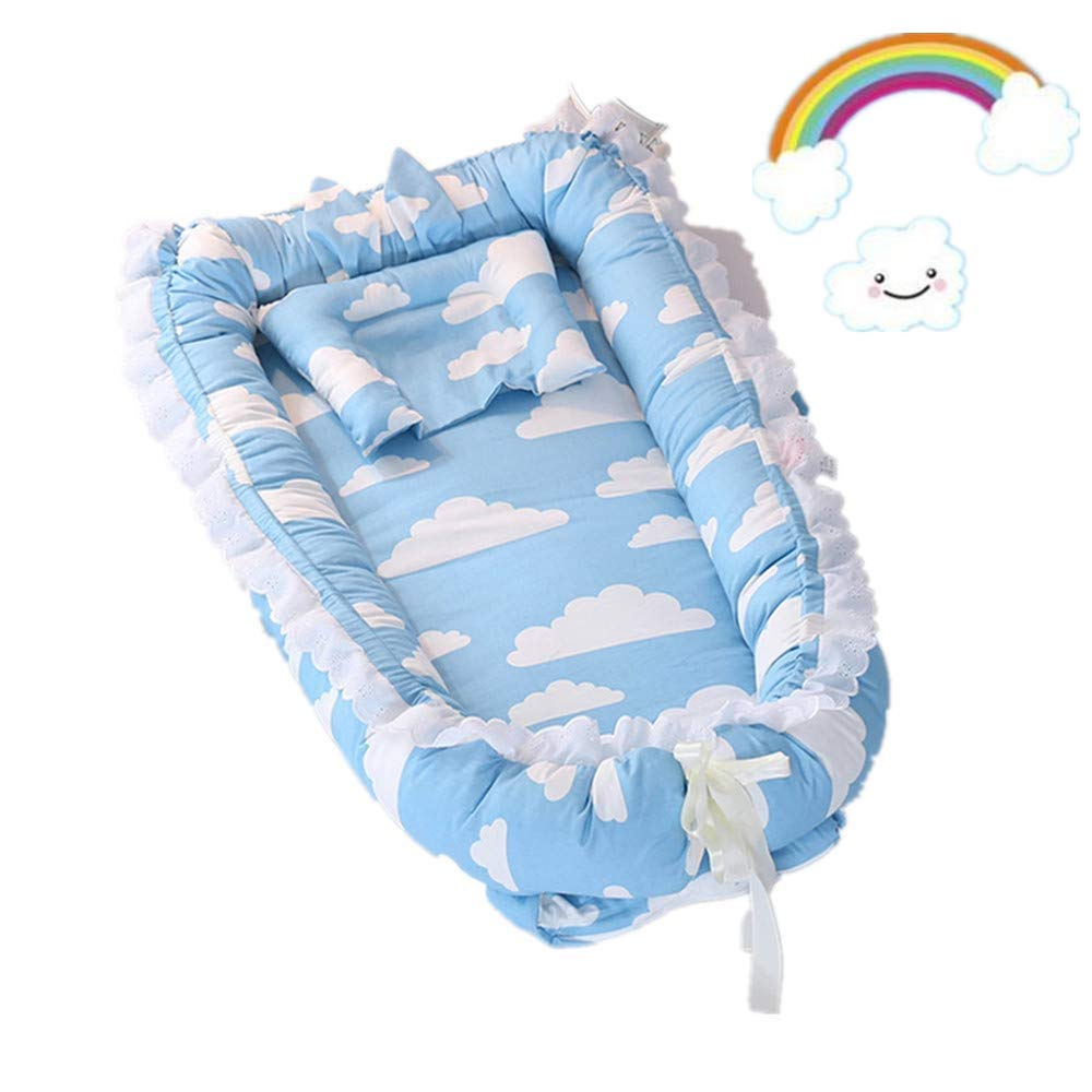 Abreeze Ruffled Baby Bassinet for Bed -Blue Clouds Baby Lounger - Breathable & Hypoallergenic Co-Sleeping Baby Bed - 100% Cotton Portable Crib for Bedroom/Travel by Abreeze