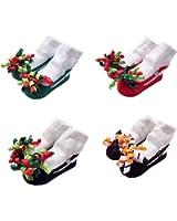 Honanda Baby Girl 4 Pairs Cute Flower Pattern Mary Janes Ankle Socks