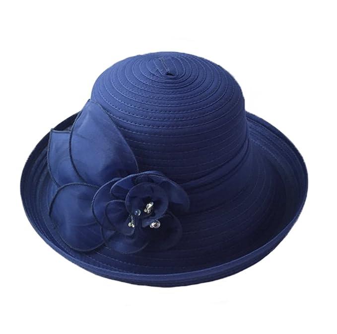 3ccb7252d3aa1 Sombreros Bombin Mujeres Niñas Gasa Cinta Flor Al Aire Libre Playa  Primavera Verano Sombrero de Sol Azul Oscuro  Amazon.es  Ropa y accesorios