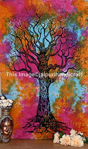 Tie Dye tree Tapestry, Tree of life tapestry, wall hanging, indian tapestries, bohemian beach blanket, Hippie Tapestries ,Dorm Tapestry