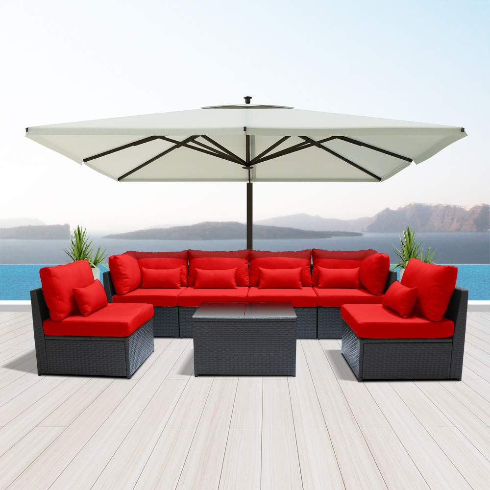 Amazon com dineli outdoor sectional sofa patio furniture wicker conversation sofa espresso brown rattan sofa set g7 red garden outdoor