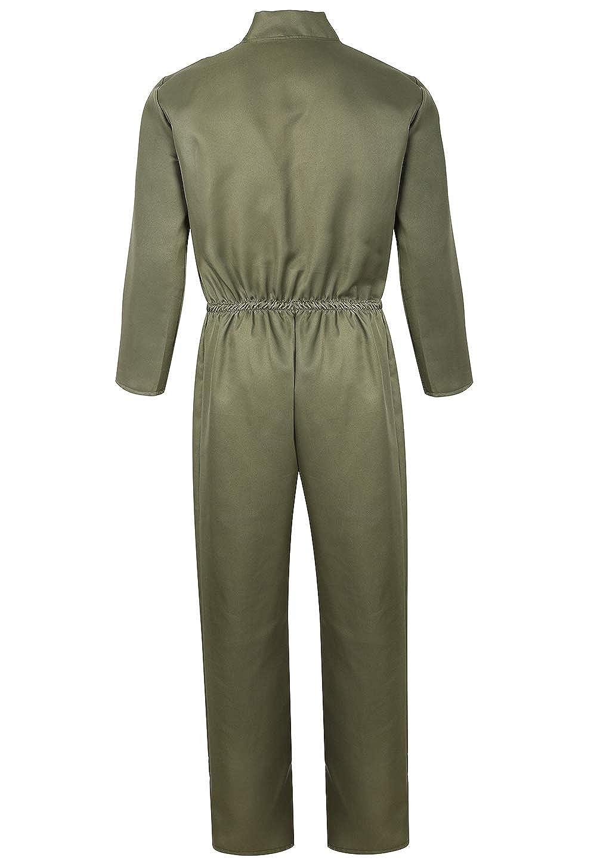 a6e7fe9bbe6 Amazon.com  Adult Costumes Flight Suit Pilot Costume for Men Prisoner  Costume Long Sleeve Jumpsuit  Clothing