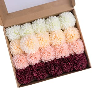 MACTING 20 Pcs Artificial Chrysanthemum Ball Flowers Bouquet, Fake Flowers Silk Artificial Hydrangea Pack in Box for Wedding DIY Christmas Baby Shower Garden Wreath Home Decor Decoration(Mix Color)