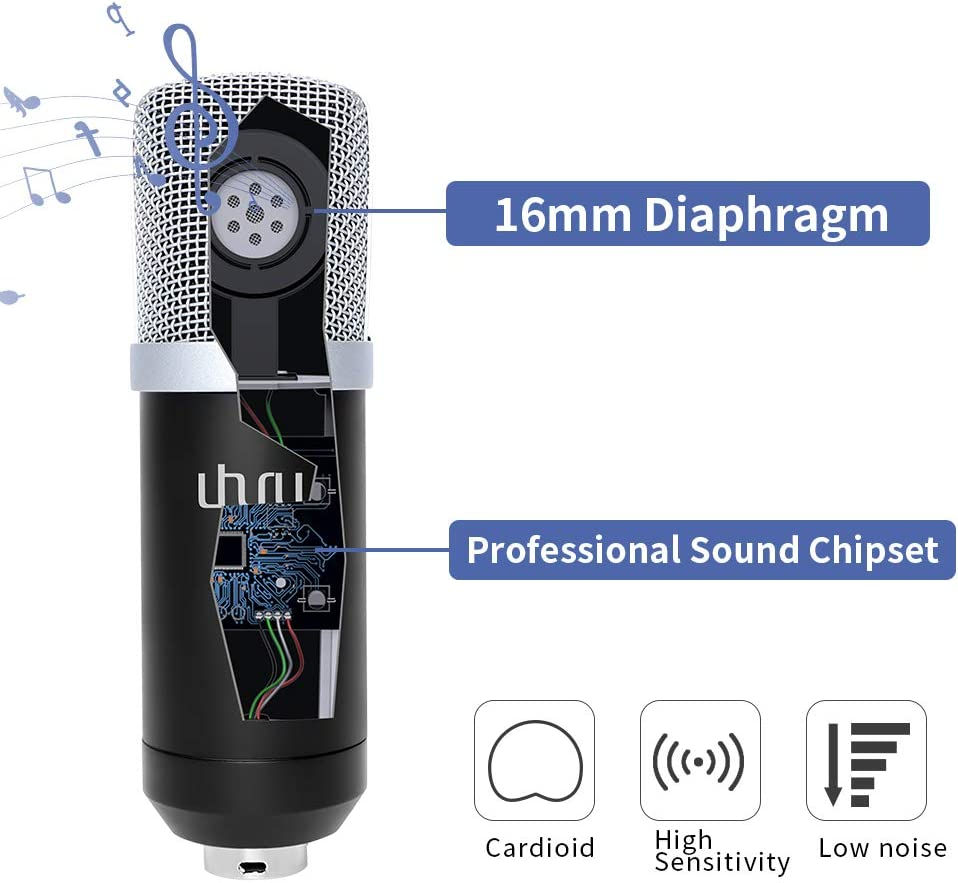 Dubbing Pop Filter for Skype,Youtube,Gaming Recording USB Condenser Microphone Kit with Aluminum Storage Case UHURU Professional 192KHZ//24Bit Cardioid Streaming Mic with Desktop Stand,Shock Mount