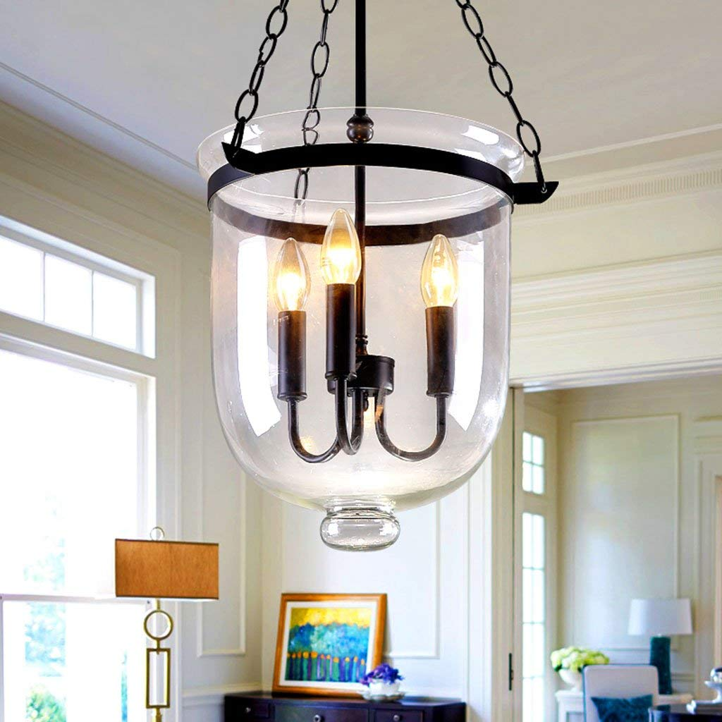 ChuanHan Chandelier Ceiling Light Pendant Lighting Fixture Pendant Lamps Retro Rustic Clear Glass Bell Jar Chain Ceiling Pendant Light with 3 Candle Light Restaurant Chandelier, 25cm
