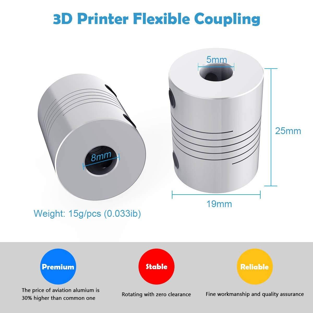 Coupleurs flexibles Zeelo 4PCS coupleur darbre NEMA 17 de 5 /à 8 mm pour Creality CR-10 S4 S5 S5 Makerbot RepRap Prusa i3 imprimante 3D ou CNC