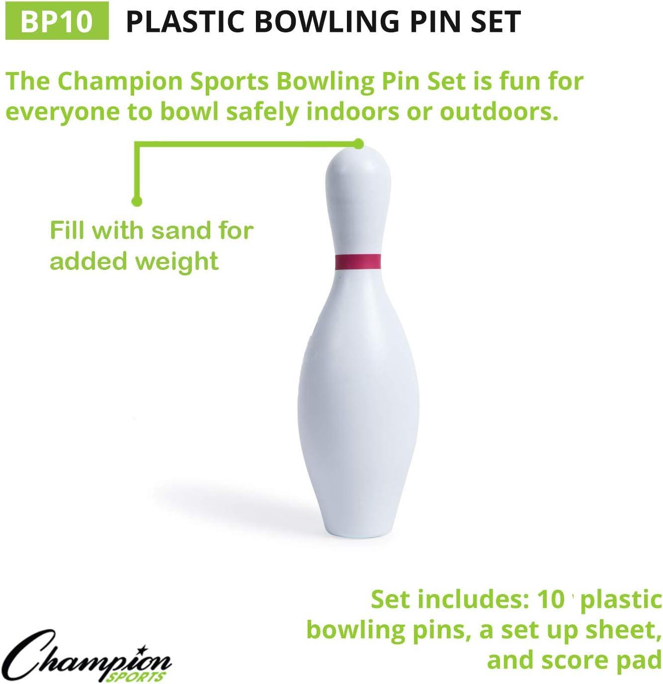 Champion Sports Plastic Bowling Pins: Set for Training & Kids Games