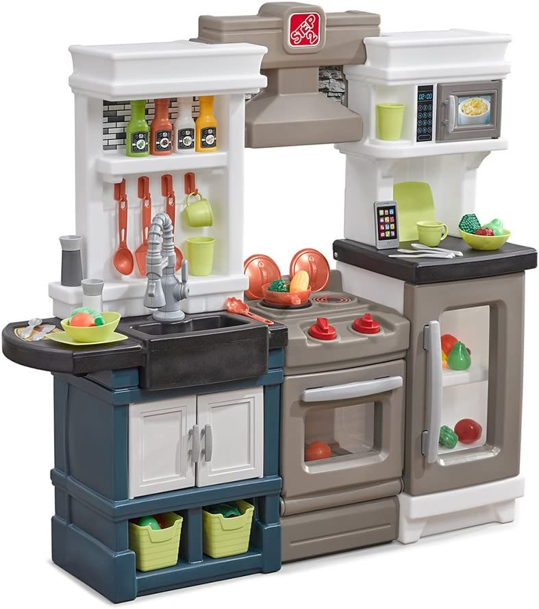 Step2 Modern Metro Kitchen | Modern Play Kitchen & Toy Accessories Set |  Kids Kitchen Playset with Real Lights & Sounds
