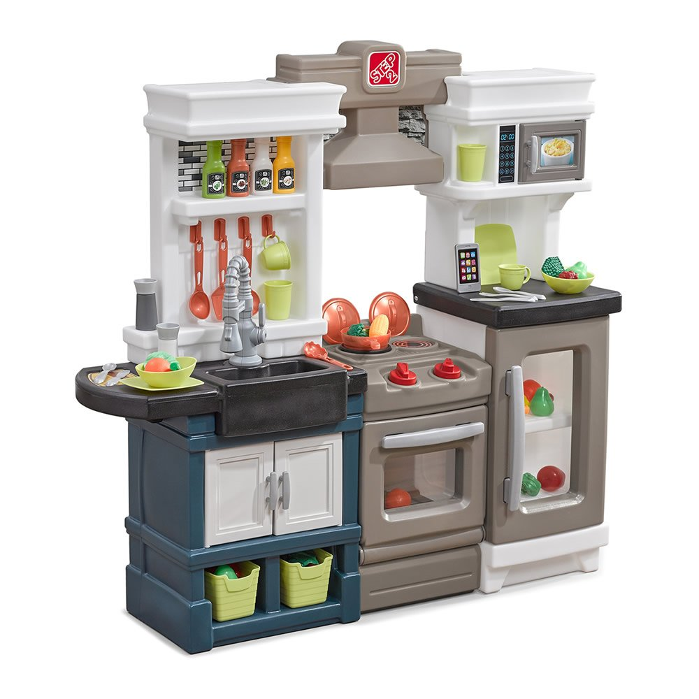 Step2 Modern Metro Kitchen | Modern Play Kitchen & Toy Accessories Set | Kids Kitchen Playset with Real Lights & Sounds by Step2