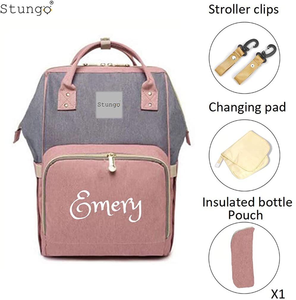 PERSONALIZED Large Diaper Bag Knapsack GREY quilted Custom Monogram Name Embroidered Backpack Diaper bag infant Baby Bag Gift Nappy Bag