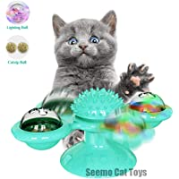 Cat Toy,Windmill Cat Toy,Cat Windmill Toy with Led Ball and Catnip Ball, Cat Turntable Teasing Interactive Toy, Funny Kitten Windmill Ball, Massage Scratching Tickle,Blue