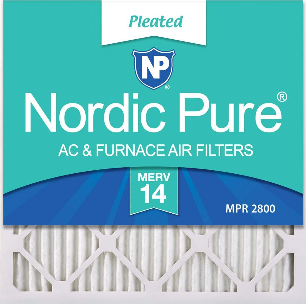 Nordic Pure 20x20x1 MERV 14 Pleated AC Furnace Air Filters, 20x20x1M14-2, 2 Piece