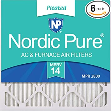 Nordic Pure 12x12x1 MERV 8 Pleated AC Furnace Air Filters 6 Pack