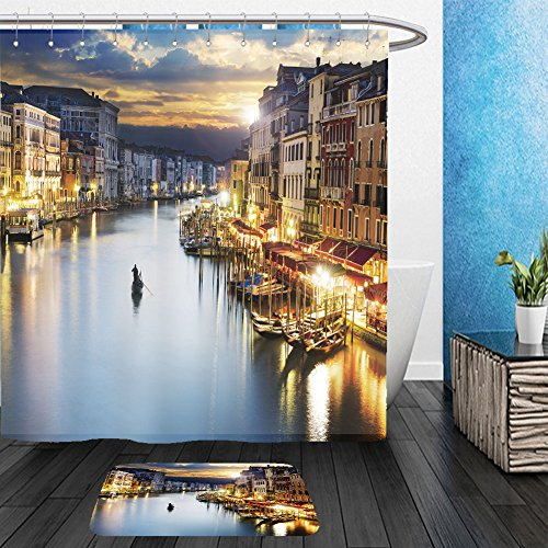 Vanfan Bathroom 2 Suits 1 Shower Curtains & 1 Floor Mats famous grand canale from rialto bridge at blue hour venice italy 138430514 From Bath - Eve Hours On Walmart Christmas