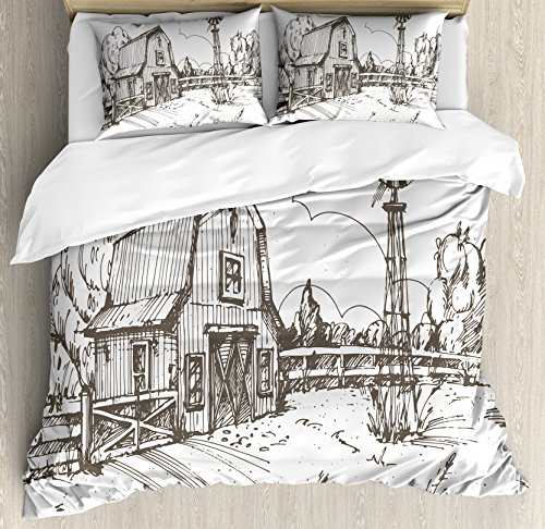 Countryside Windmill - Ambesonne Windmill Duvet Cover Set, Rustic Barn Farmhouse Hand Drawn Illustration Countryside Rural Meadow, Decorative 2 Piece Bedding Set with 1 Pillow Sham, Twin Size, Taupe