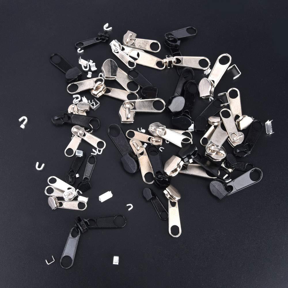 Bagages Argent /& Noir Tentes 85 Pcs Kit de R/éparation de Fermeture /à Glissi/ère Zipper Installer Pince Outil Sacs Ms.dear Remplacement de Fermeture /à Glissi/ère Vestes Sac de Couchage