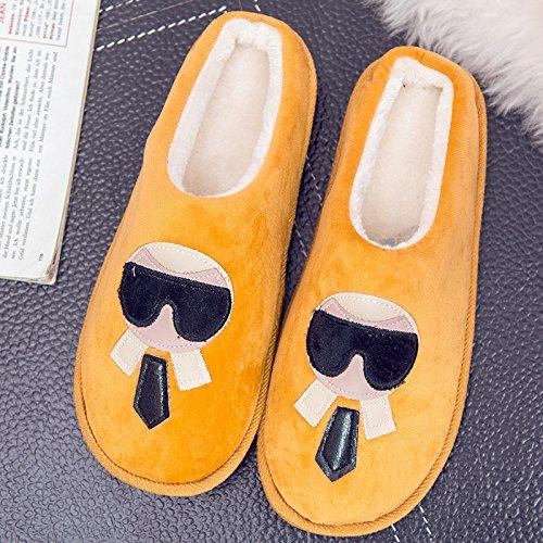 DogHaccd pantofole,Autunno Inverno paio di pantofole di cotone, in pacchetto in camera per rimanere nel caldo inverno spesse pantofole di peluche di uomini e donne.,Signor Wong38-39