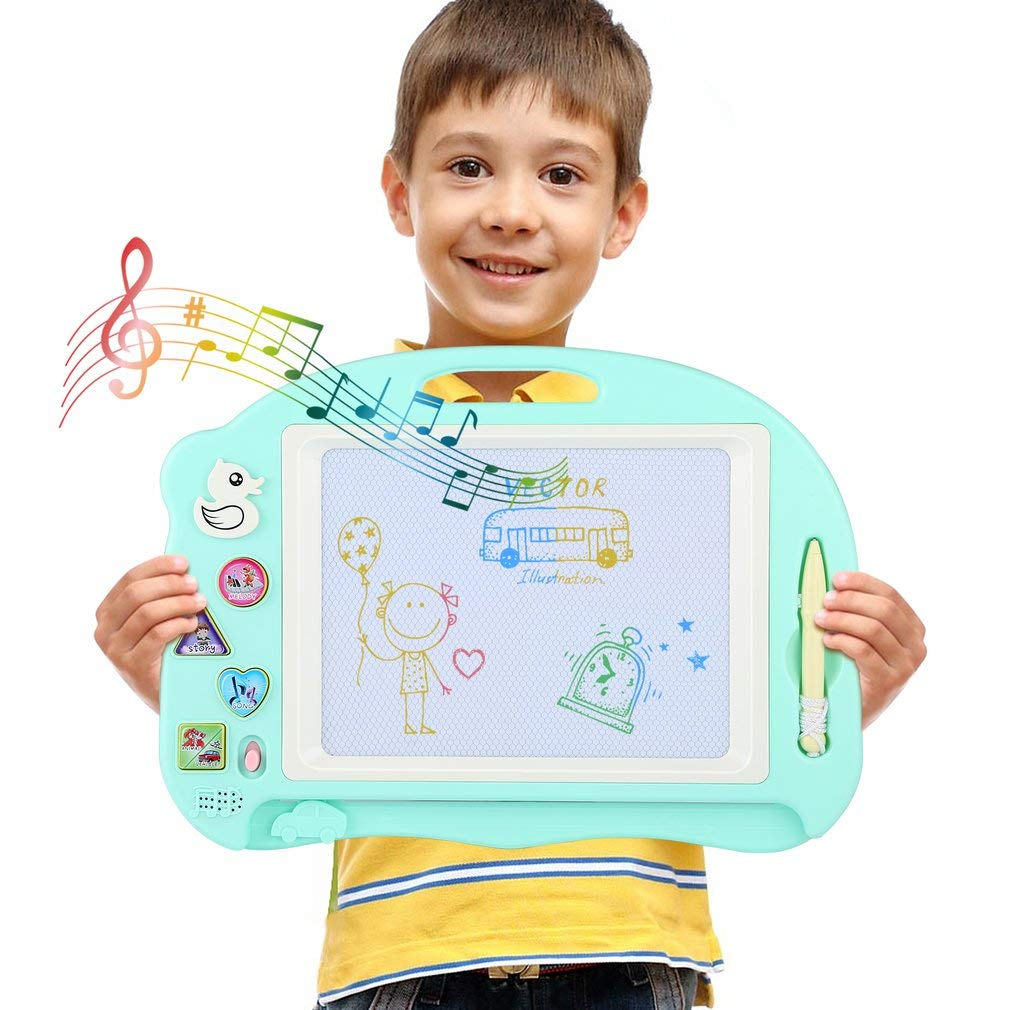 Hyden Magnetic Drawing Board for Kids, Music Magna Doodle, Colorful Doodle Pad with 3 Stampers Learning Toys for Children 3 4 5 years old (Blue) Hyden-UK .